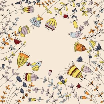 Conception de bannière avec des fleurs, des oiseaux et un lieu pour le texte