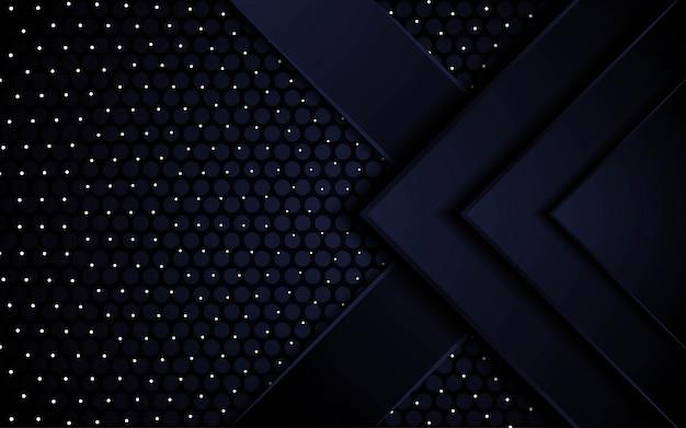 Conception de bannière de fond futur abstrait noir premium moderne en points et texture de motif de cercle.