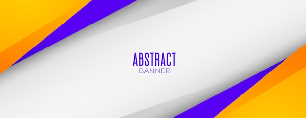 Conception de bannière de fond géométrique abstrait jaune et violet moderne