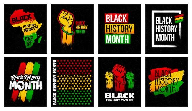 Conception de bannière grunge du mois de l'histoire des noirs