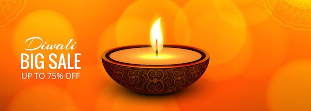 Conception de bannière happy diwali grande vente