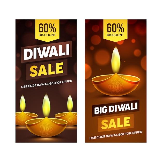 Conception de bannière happy diwali sale avec des éléments de lampe à huile diya sur fond marron effet bokeh