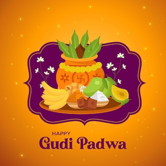 Conception de bannière happy gudi padwa