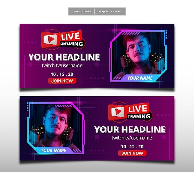 Conception de bannière de haute technologie en streaming en direct.