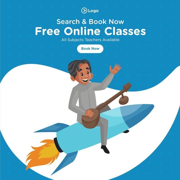 Conception de bannière d'illustration de style de dessin animé de cours en ligne gratuits