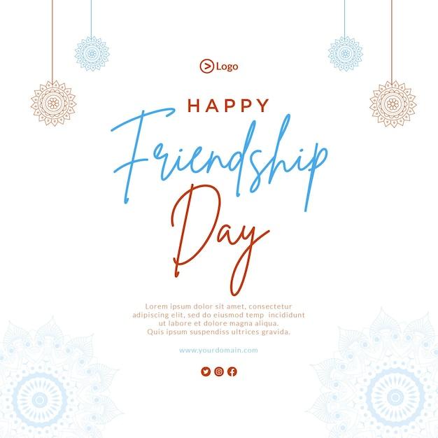 Conception de bannière d'illustration de style dessin animé joyeux jour de l'amitié