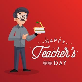 Conception de bannière de jour de l'enseignant heureux avec le professeur tenant des livres à la main