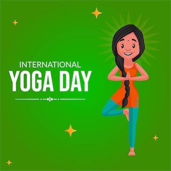 Conception de bannière de journée internationale de yoga sur fond vert
