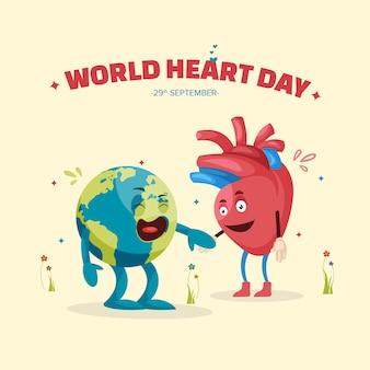 Conception de bannière de la journée mondiale du cœur avec le caractère du cœur