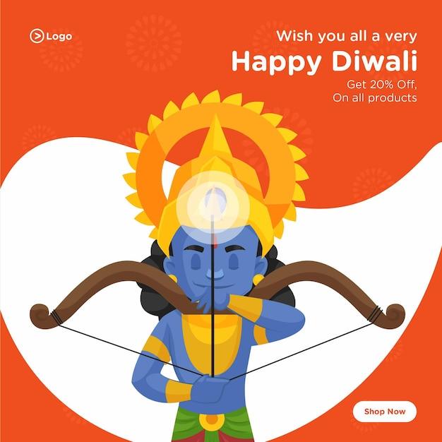 Conception de bannière de joyeux diwali