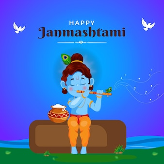 Conception de bannière de joyeux modèle de festival indien janmashtami