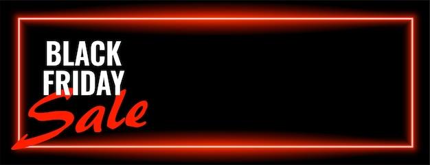 Conception de bannière large néon vente vendredi noir