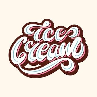 Conception de bannière avec lettrage ice cream. illustration vectorielle
