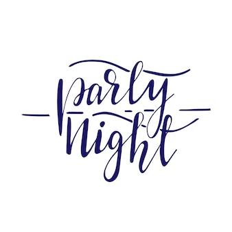 Conception de bannière avec lettrage party night. illustration vectorielle