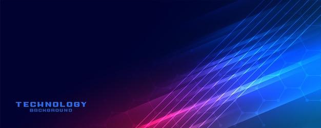 Conception de bannière de lignes technologiques brillantes et brillantes
