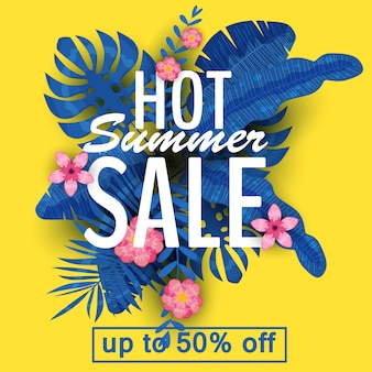 Conception d'une bannière avec un logo de vente d'été. offre de promotion avec des plantes tropicales d'été, des feuilles et des décorations florales. vecteur, illustration