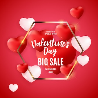 Conception de bannière love and feelings sale de saint valentin.