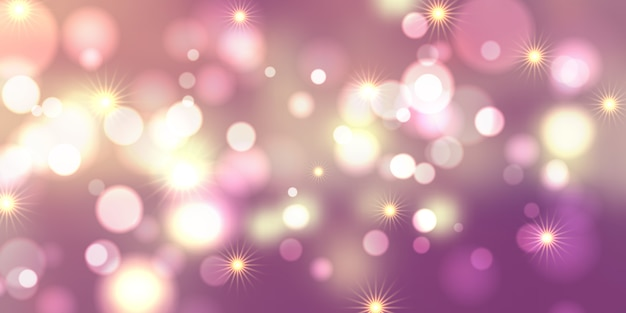 Conception de bannière de lumières et étoiles de bokeh