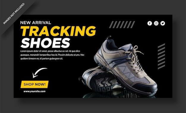 Conception de bannière de magasin de plein air de chaussures de suivi