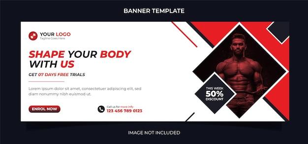 Conception de bannière de médias sociaux de concept de remise en forme et modèle de publication instagram pour l'exercice et l'entraînement en salle de sport