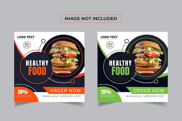 Conception de bannière de médias sociaux pour aliments sains
