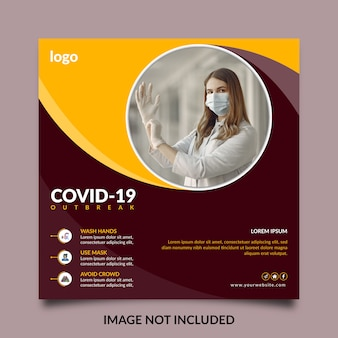 Conception de bannière de médias sociaux de soins de santé et de modèle de publication instagram sur le virus corona ou covid-19