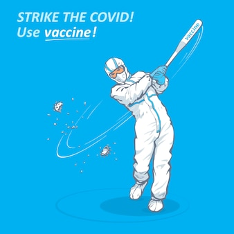 Conception de bannière médicale pour la campagne de vaccination avec un texte frappez le vaccin d'utilisation de covid