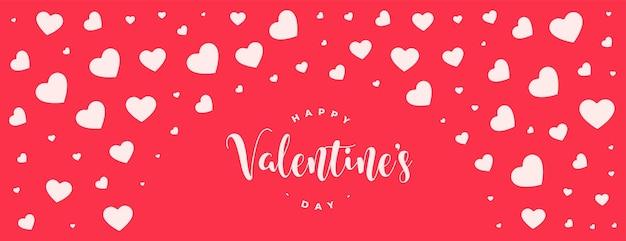 Conception de bannière de modèle de coeurs heureux saint valentin