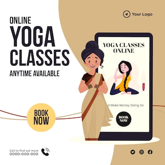 Conception de bannière de modèle de cours de yoga en ligne