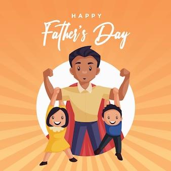 Conception de bannière de modèle de fête des pères heureux