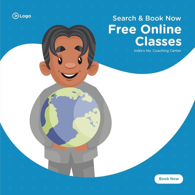 Conception de bannière de modèle de style de dessin animé de centre de coaching de cours en ligne gratuits