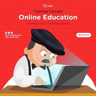Conception de bannière de modèle de style de dessin animé de cours de formation en ligne