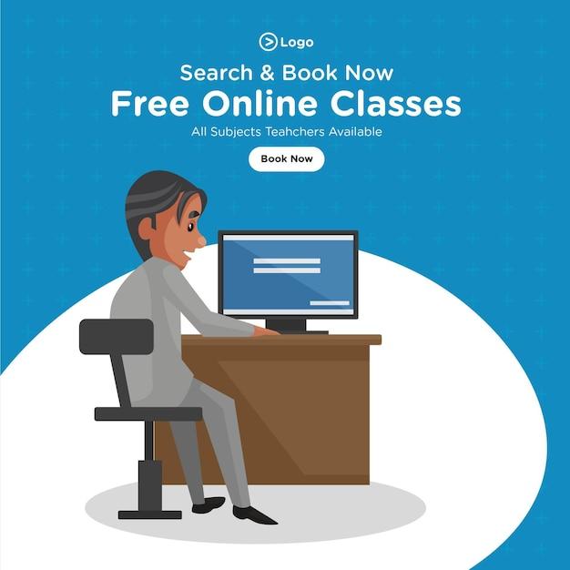 Conception de bannière de modèle de style de dessin animé de cours en ligne gratuits