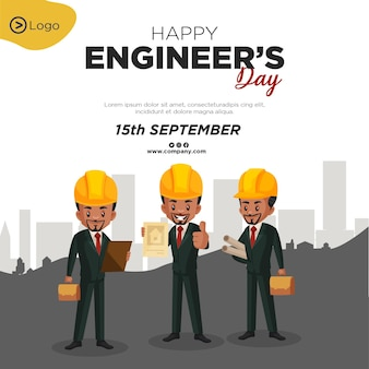 Conception de bannière de modèle de style de dessin animé heureux jour des ingénieurs