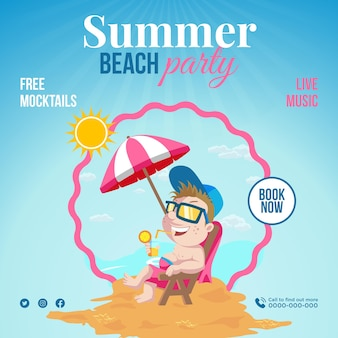 Conception de bannière de musique en direct summer beach party