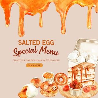 Conception de bannière d'oeuf salé avec gâteau, beignet, illustration aquarelle chignon.
