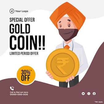 Conception de bannière de l'offre spéciale sur le prêt d'or avec l'homme tenant de l'argent et de l'or en main