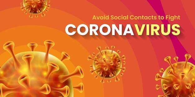 Conception de bannière pandémique mondiale pour le virus corona covid-19