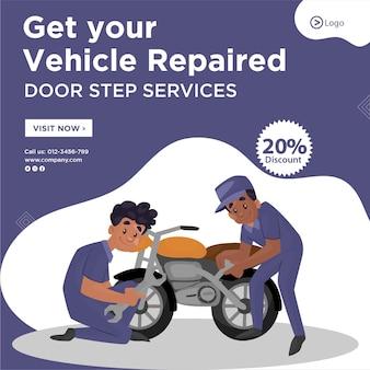 Conception de bannière pour faire réparer votre véhicule modèle de services de pas de porte