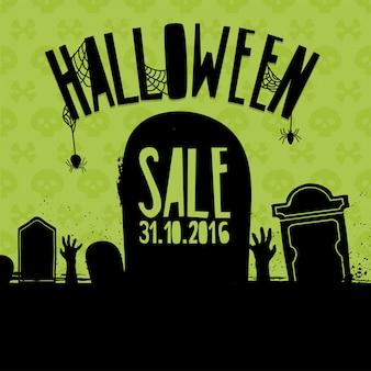 Conception de bannière pour la vente d'halloween.