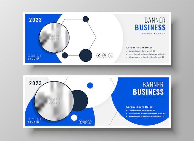 Conception de bannière de présentation entreprise bleu professionnel moderne