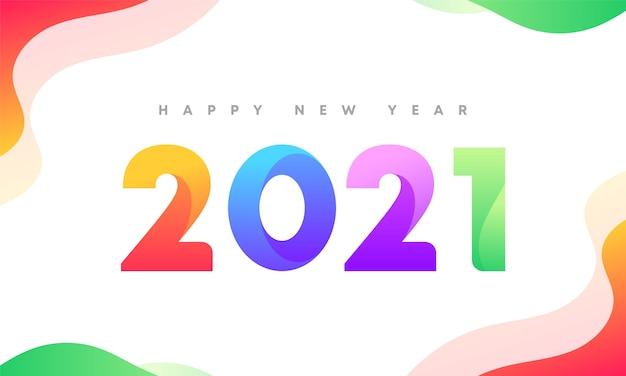 Conception de bannière propre et colorée du nouvel an 2021