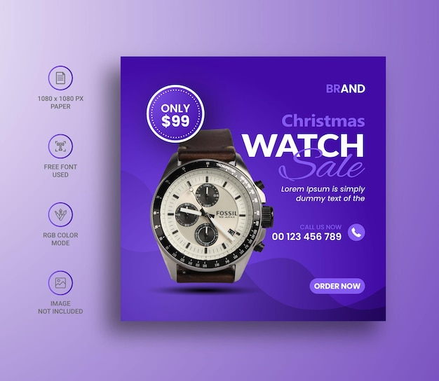 Conception de bannière de publication instagram sur les médias sociaux de vente de montres de noël