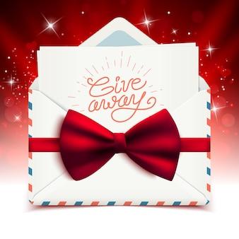 Conception de bannière publicitaire cadeau, message texte calligraphique dans une enveloppe blanche réaliste