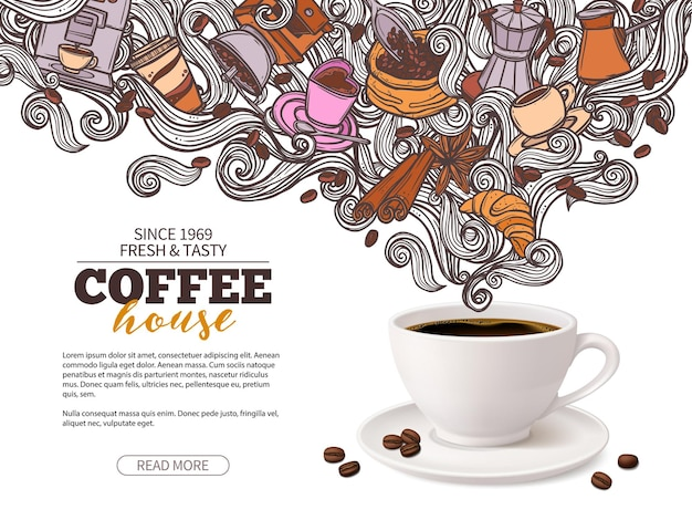 Conception de bannière publicitaire café avec tasse à café 3d et haricots doodle dessinés à la main