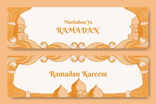 Conception de bannière de ramadan kareem avec illustration dessinée à la main de l'ornement islamique
