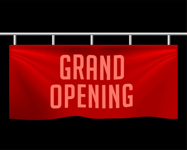 Conception de bannière réaliste d'ouverture officielle
