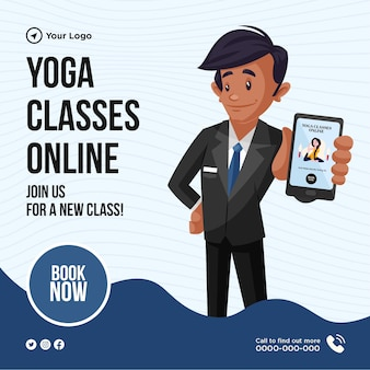 Conception de bannière de rejoignez-nous pour un nouveau cours de yoga en ligne