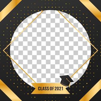 Conception de bannière de remise des diplômes de la classe 2021 avec des décorations de fond en demi-teintes de luxe doré
