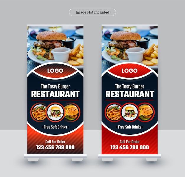 Conception de bannière de rollup de nourriture de restaurant